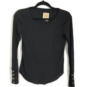 Chaser Black Long Sleeve Top Ribbed Size XS